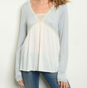 2/$45 NWT Blue Lace Trimmed Baby Doll Blouse
